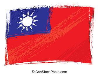 taiwán, grunge, bandera