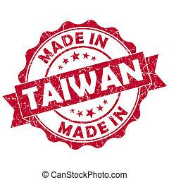 taiwán, hecho, grunge, rojo, sello