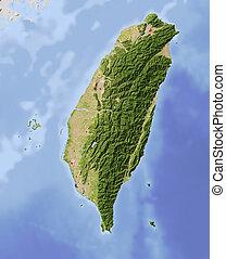 taiwán, protegidode la luz, mapa en relieve