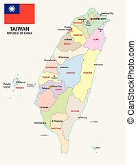 Taiwan administrativ and political map with flag.