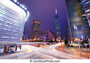 Taiwan, Taipei cityscape at the Xinyi District.
