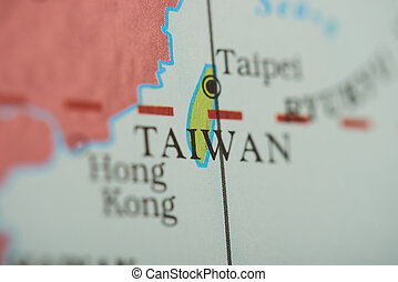 Taiwan country on paper map