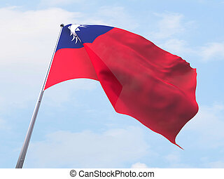 Taiwan flag flying on clear sky.