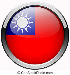 Taiwan flag gel metal button