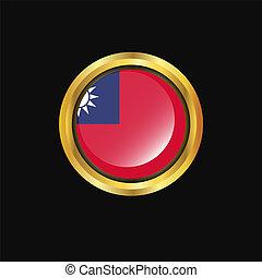 Taiwan flag Golden button