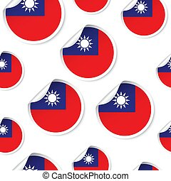Taiwan flag sticker seamless pattern background. Business concept label pictogram. Taiwan flag symbol pattern.