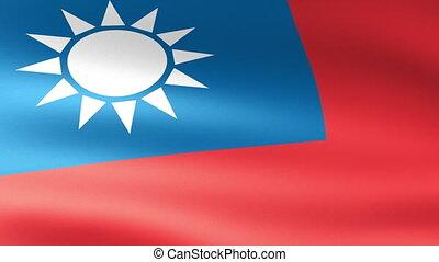 Taiwan Flag Waving