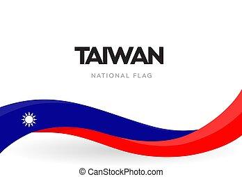 Taiwan flag, wavy ribbon with colors of taiwanese national ...