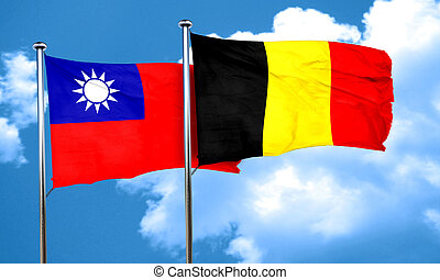 Taiwan flag with Belgium flag, 3D rendering