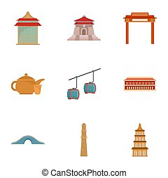 Taiwan icon set, flat style