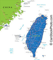 Taiwan Map - Highly detailed vector map of Taiwan with...