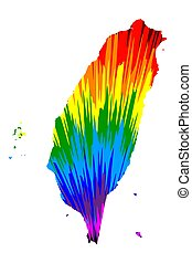 Taiwan - map is designed rainbow abstract colorful pattern, ...