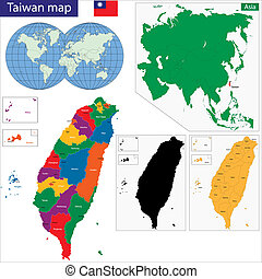Taiwan map - Vector map of Taiwan drawn with high detail and...