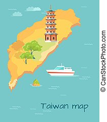 Taiwan Map with Dragon Tiger Tower Illustration
