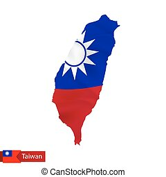 Taiwan map with waving flag of country.
