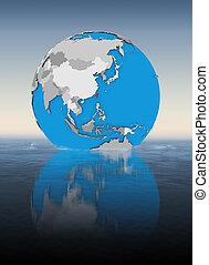 Taiwan on globe in water