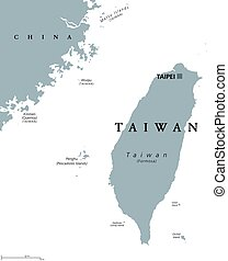 Taiwan or Republic of China ROC political map - Taiwan ...