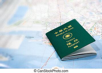 taiwan passport on a map