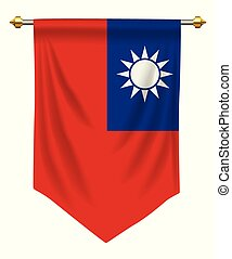 Taiwan Pennant - Taiwan flag or pennant isolated on white