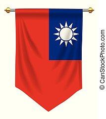 Taiwan Pennant - Taiwan flag or pennant isolated on white