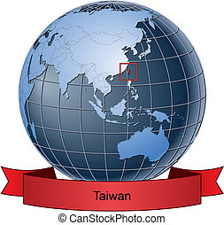 Taiwan, position on the globe Vector version with separate layers for globe, grid, land, borders, state, frame; fully editable