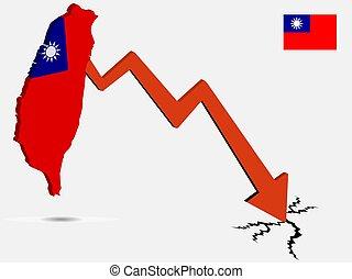 Taiwan Republic of China economic crisis vector.