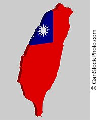 Taiwan Republic of China map flag vector 3D illustration eps 10