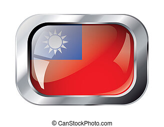 taiwan shiny button flag vector illustration. Isolated abstract object against white background.
