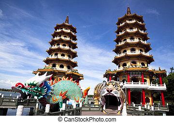 taiwan, slavný, věž, tiger, drak