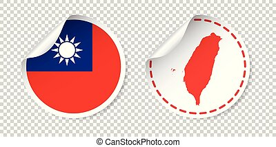 Taiwan sticker with flag and map. Label, round tag with country. Vector illustration on isolated background.