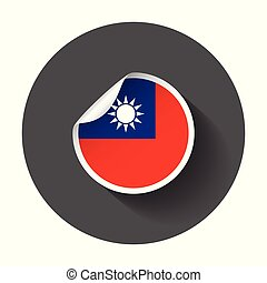 Taiwan sticker with flag. Vector illustration with long shadow.
