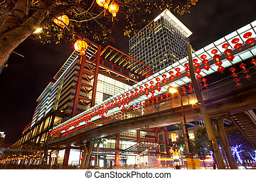 taiwan, taipei, město, večer