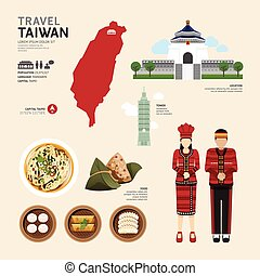 Taiwan Flat Icons Design Travel Concept. Vector