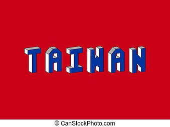 Taiwan text with 3d isometric effect