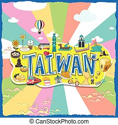 Taiwan travel poster design with attractions and gourmets in...