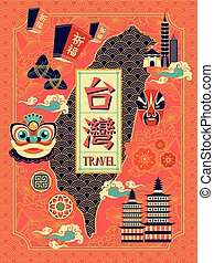 Taiwan travel poster design with cultural symbol
