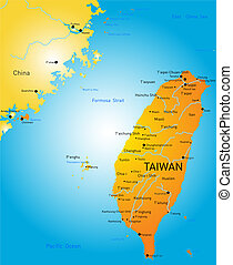 taiwan - Vector color map of Taiwan