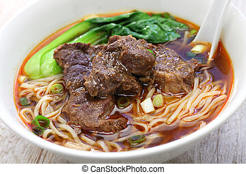 taiwanese, carne, sopa noodle