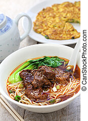 beef noodle soup, dried radish omelet, taiwanese cuisine