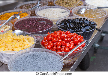 Toppings for Taiwanese shaved ice dessert at a vendor
