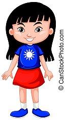 Taiwanese girl wearing shirt with flag illustration