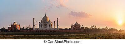 taj, agra, mahal, vista, panorama, río yamuna, india, ocaso