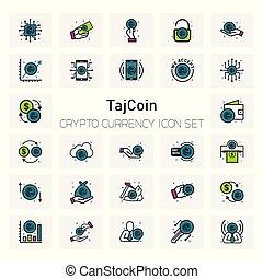 Taj Coin Crypto Currency icons set