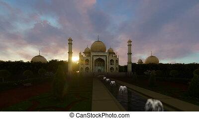 Taj Mahal against beautiful sunset, panning, 4K