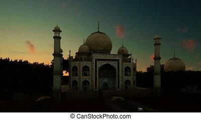 Taj Mahal against beautiful timelapse sunrise, panning