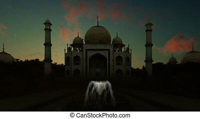 Taj Mahal against beautiful timelapse sunrise, tilt