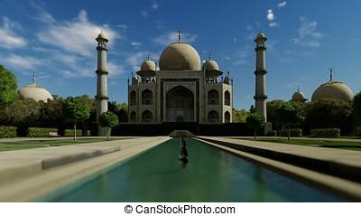 Taj Mahal against blue sky, tilt cam, zoom out