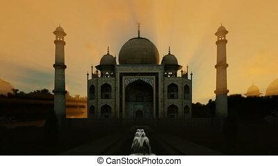 Taj Mahal against timelapse sunrise, tilt