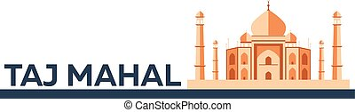 Taj Mahal. Agra. Indian architecture. Modern flat design. Vector illustration.