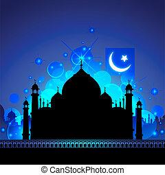Taj Mahal at Night - illustration of view of Taj Mahal in...
